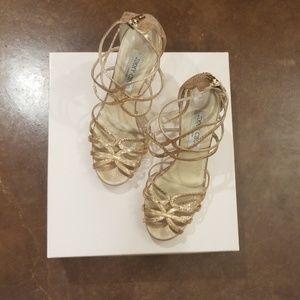 Jimmy Choo size 7 (37.5) rose gold heels